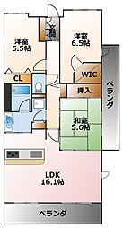 兵庫県西宮市甲子園六石町の賃貸マンションの間取り