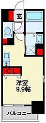 コンダクトレジデンス戸畑 8階ワンルームの間取り