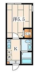 JR横浜線 菊名駅 徒歩6分の賃貸アパート 1階1Kの間取り