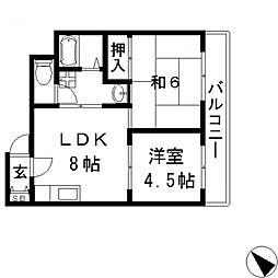 メゾンドール若江北[302号室号室]の間取り