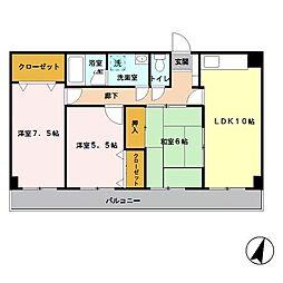 埼玉県さいたま市中央区上落合7丁目の賃貸マンションの間取り