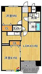 福岡県福岡市博多区大字金の隈3丁目の賃貸マンションの間取り