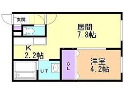 フェリオ栄通 2階1LDKの間取り