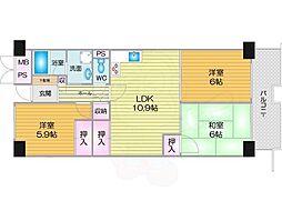 Osaka Metro南港ポートタウン線 ポートタウン東駅 徒歩7分の賃貸マンション 4階3LDKの間取り