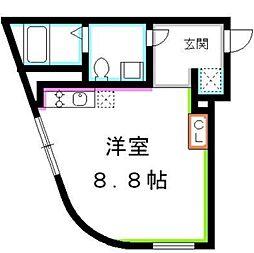 JR総武線 吉祥寺駅 徒歩10分の賃貸マンション 3階ワンルームの間取り