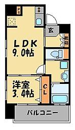 ネストピア平尾駅前II[601号室]の間取り