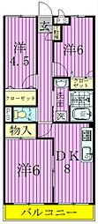 ガーデン六実[203号室]の間取り