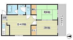 長田コーポ[208号室]の間取り