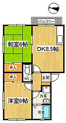 妙見ハイツA[201号室]の間取り