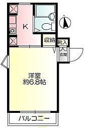 神奈川県横浜市保土ケ谷区境木本町の賃貸アパートの間取り