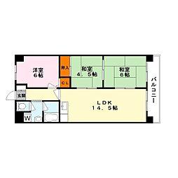 エミナール南草津[6階]の間取り