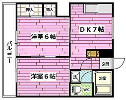 広島県広島市安芸区船越2丁目の賃貸マンションの間取り