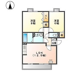 アミスターA・B[2階]の間取り