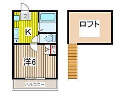 埼玉県蕨市南町3の賃貸アパートの間取り