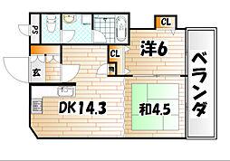 ウインズ浅香[2階]の間取り