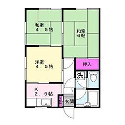 刈米コーポ[202号室]の間取り