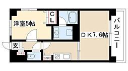 愛知県名古屋市瑞穂区牧町2丁目の賃貸マンションの間取り
