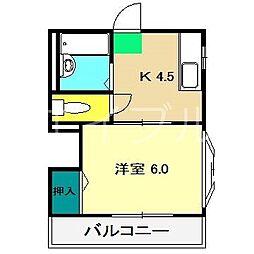 ハイツM1(西奏泉寺)[2階]の間取り