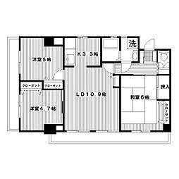 ポートヴィラAK[7階]の間取り