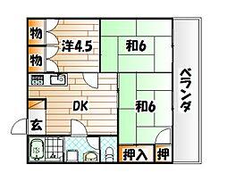 ハッピーエステートモア八幡駅前[3階]の間取り