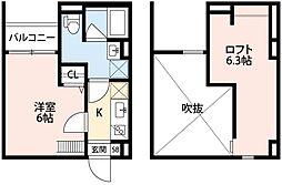 兵庫県神戸市須磨区中島町3丁目の賃貸アパートの間取り