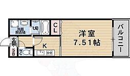 プレジオ尼崎 5階1Kの間取り