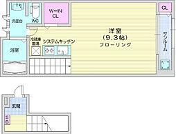 ソレイユ IZUMI 2階ワンルームの間取り