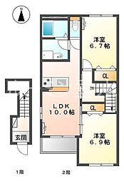 仮 三木市本町新築アパート[2階]の間取り