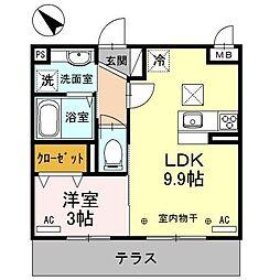埼玉県ふじみ野市鶴ケ岡2丁目の賃貸アパートの間取り