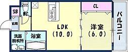 JR東海道・山陽本線 三ノ宮駅 徒歩15分の賃貸アパート 2階1LDKの間取り