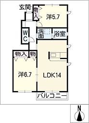 ホープ上宿B棟 1階2LDKの間取り