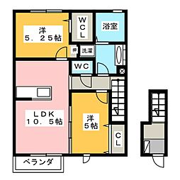 静岡県静岡市葵区牧ケ谷の賃貸アパートの間取り