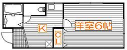 セゾン赤塚[201号室]の間取り