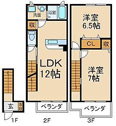 大阪府枚方市茄子作3丁目の賃貸アパートの間取り