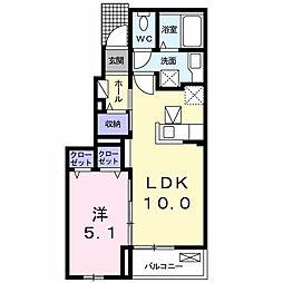 愛知県西尾市楠村町山崎の賃貸アパートの間取り