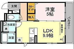JR南武線 矢向駅 徒歩18分の賃貸アパート 3階1LDKの間取り