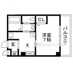 阪急嵐山線 上桂駅 徒歩1分の賃貸マンション 2階1Kの間取り