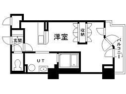 UURコート札幌南三条プレミアタワー 13階ワンルームの間取り