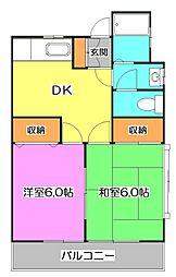 東京都清瀬市竹丘1丁目の賃貸アパートの間取り