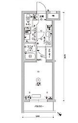 スカイコートパレス駒沢大学II 4階1Kの間取り