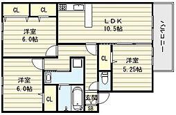 大阪府大阪市生野区巽西4丁目の賃貸マンションの間取り