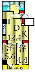 東京メトロ日比谷線 三ノ輪駅 徒歩12分の賃貸マンション 6階2LDKの間取り