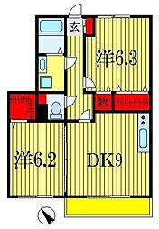 千葉県船橋市金杉3丁目の賃貸アパートの間取り