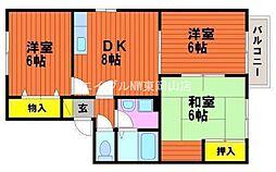 岡山県岡山市中区山崎丁目なしの賃貸アパートの間取り