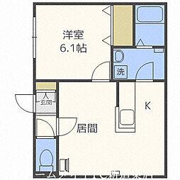 北海道札幌市北区百合が原10丁目の賃貸アパートの間取り
