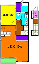 静岡県浜松市南区西伝寺町の賃貸アパートの間取り