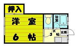 コーポ友愛荘[1階]の間取り