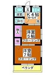 篠崎コーポ[206号室]の間取り