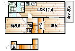 福岡県遠賀郡水巻町二西1の賃貸アパートの間取り