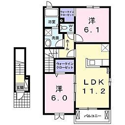 茨城県石岡市東光台5丁目の賃貸アパートの間取り
